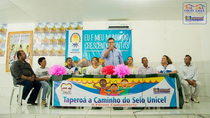 O município de TAPEROÁ é aprovado no Selo UNICEF 2013 -2016.