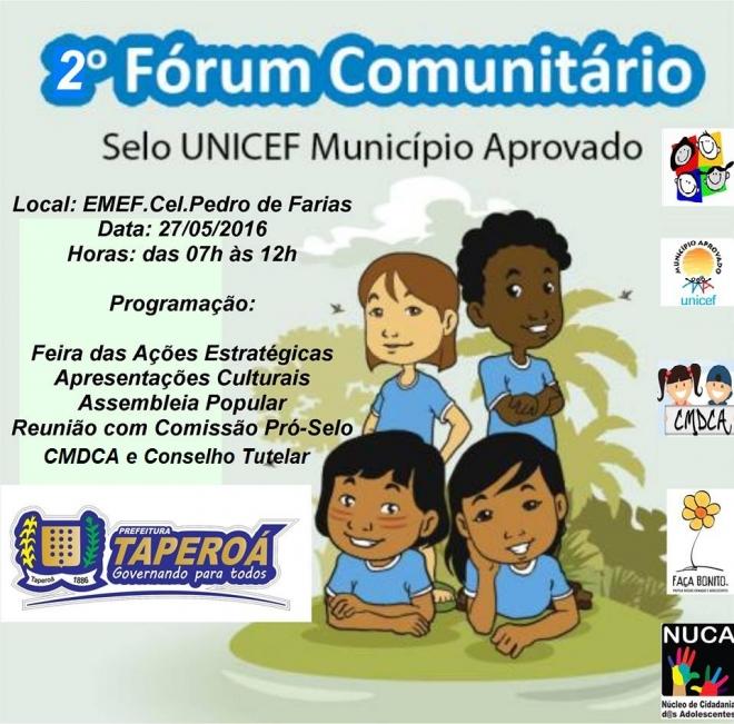 Taperoá vai sediar o 2º Fórum Comunitário do Projeto Selo UNICEF