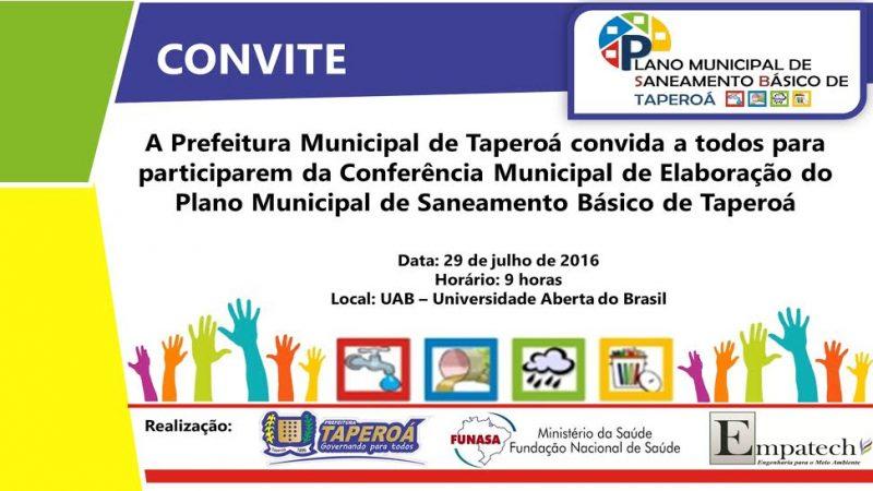 A Prefeitura de Taperoá convida a população para participar da Conferência Municipal de Elaboração do Plano Municipal de Saneamento Básico