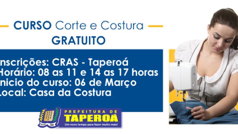Secretaria Municipal de Assistência Social, realizara curso de corte e costura, gratuitamente.