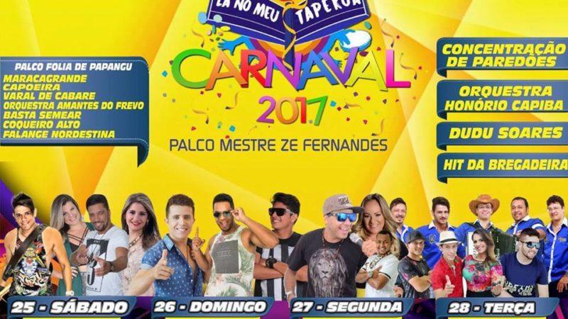 Confira a programação oficial do carnaval 2017 lá no meu taperoá